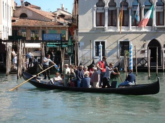 Traghetto gondola ferry across the Grand Canal in Venice
