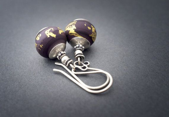 artisan Lampwork glass bead earrings • sterling silver • gold leaf • purple etched glass • contemporary glass • artisan jewelry • entre2et7