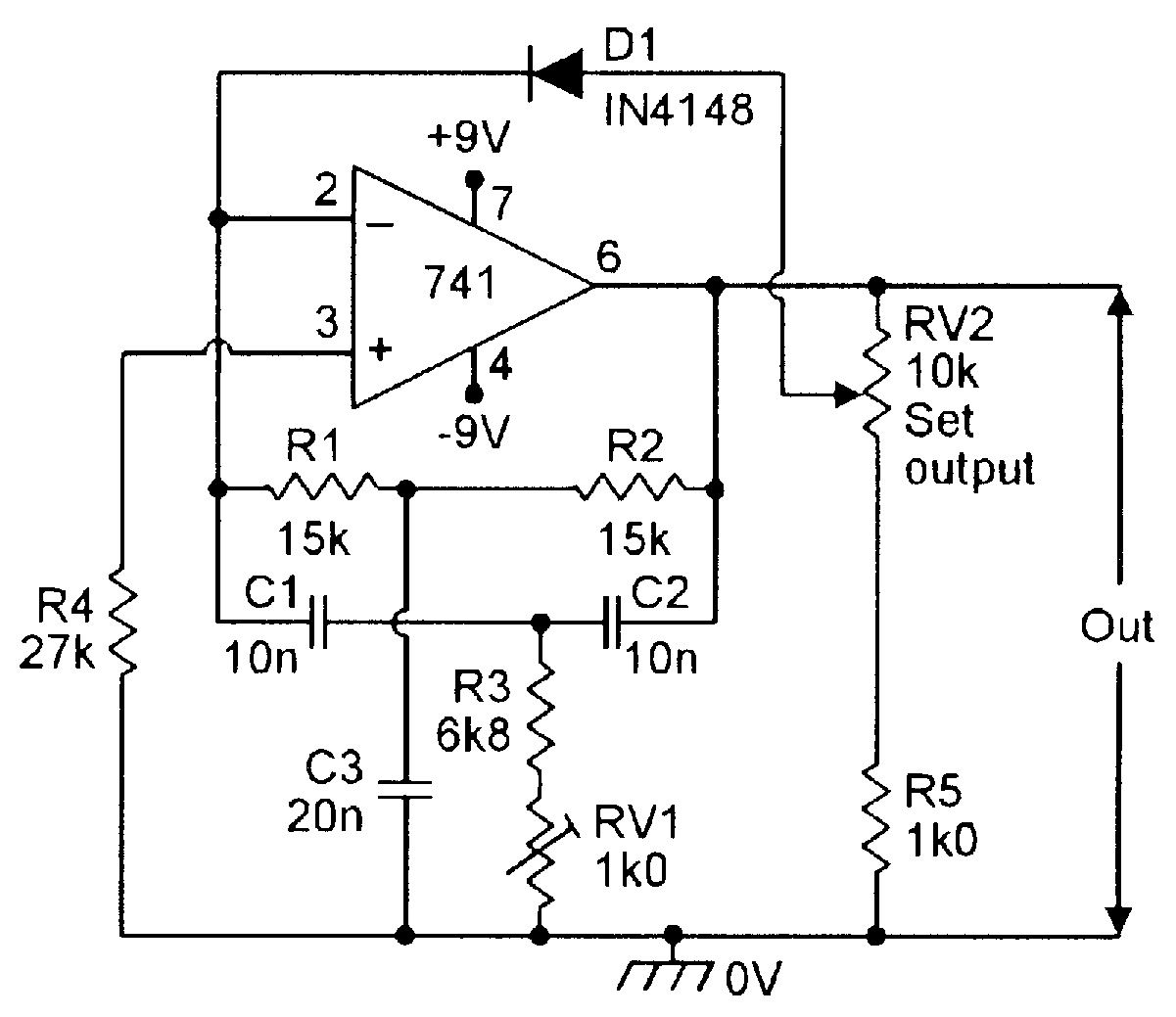 Diode Regulated 1khz Twin T Oscillator Electronic Schematics In Adding Hysteresis To A Comparator Circuit Basiccircuit