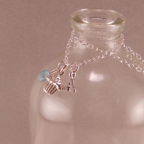 Cupcake Necklace Sterling Silver 1st by SixSistersBeadworks, $30.00
