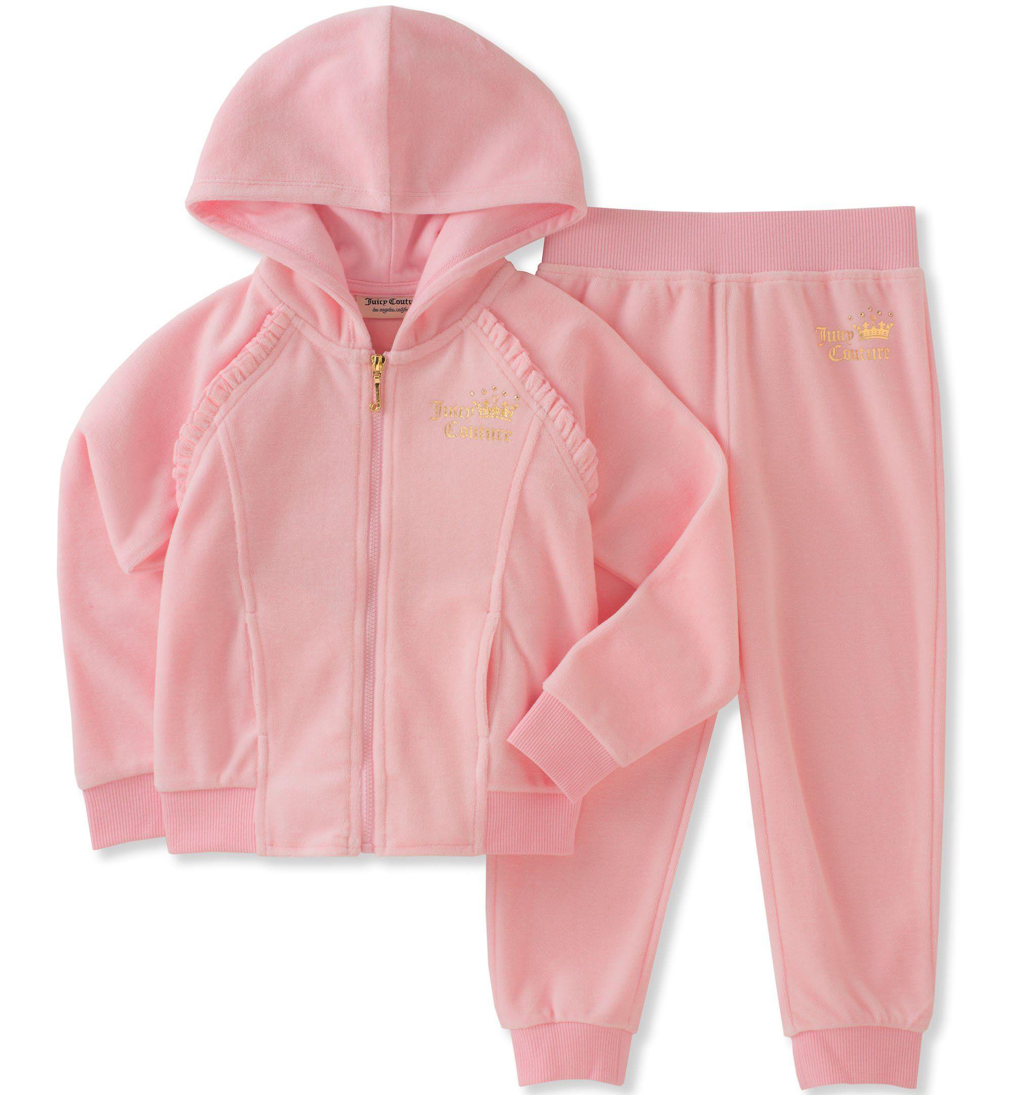 79f6b1dc27 Juicy Couture Toddler Girls' Velour Jog Sets, Light Pink, 3T. Zip ...