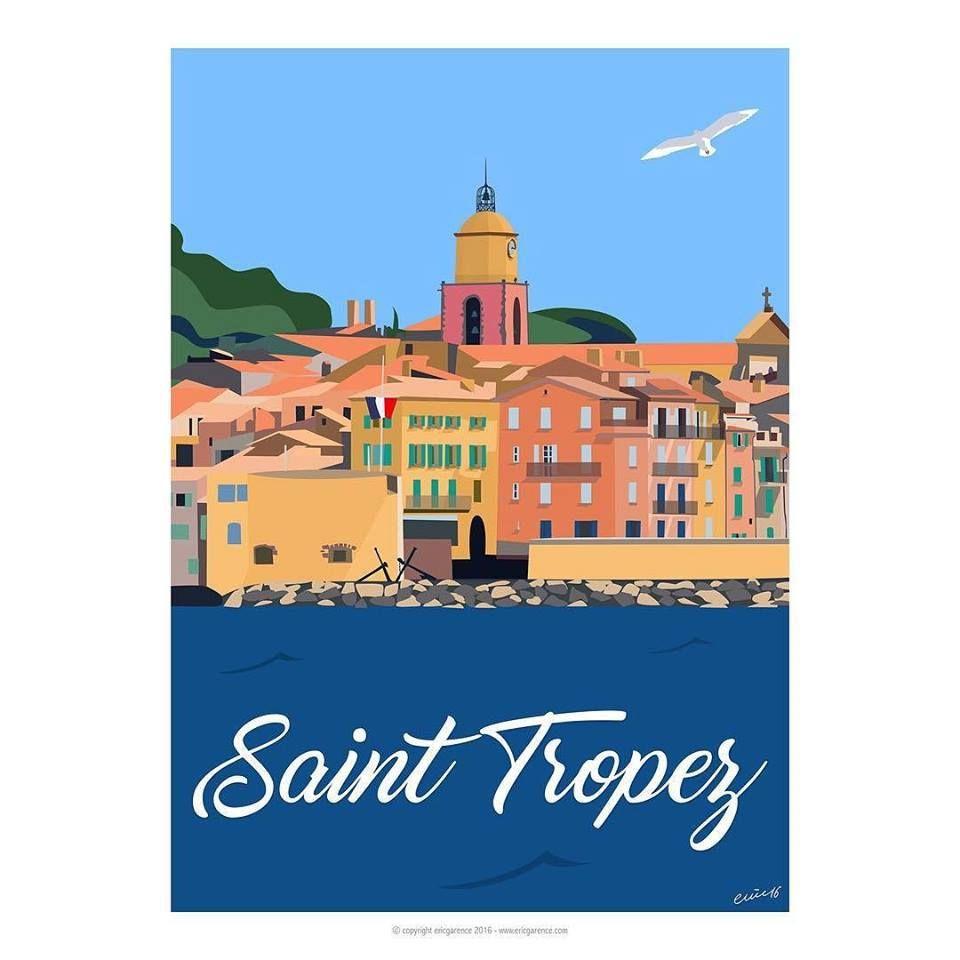 Saint Tropez Affiche Minimaliste Artiste Contemporain