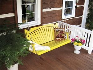Amish Pine Wood Fanback Porch Swing Porch Swing Swing Painting Amish Furniture