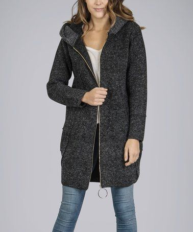 Another great find on #zulily! Charcoal Wool-Blend Hooded Zip-Up Cardigan #zulilyfinds