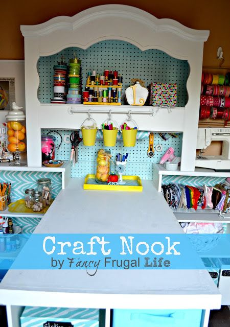 A headboard turned craft room? So awesome!