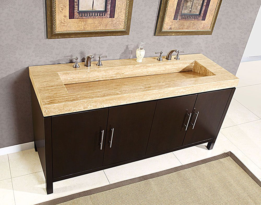 Travertine Counter Top Double Stone Ramp Sink Bathroom Vanity - Bathroom countertop for vessel sink for bathroom decor ideas