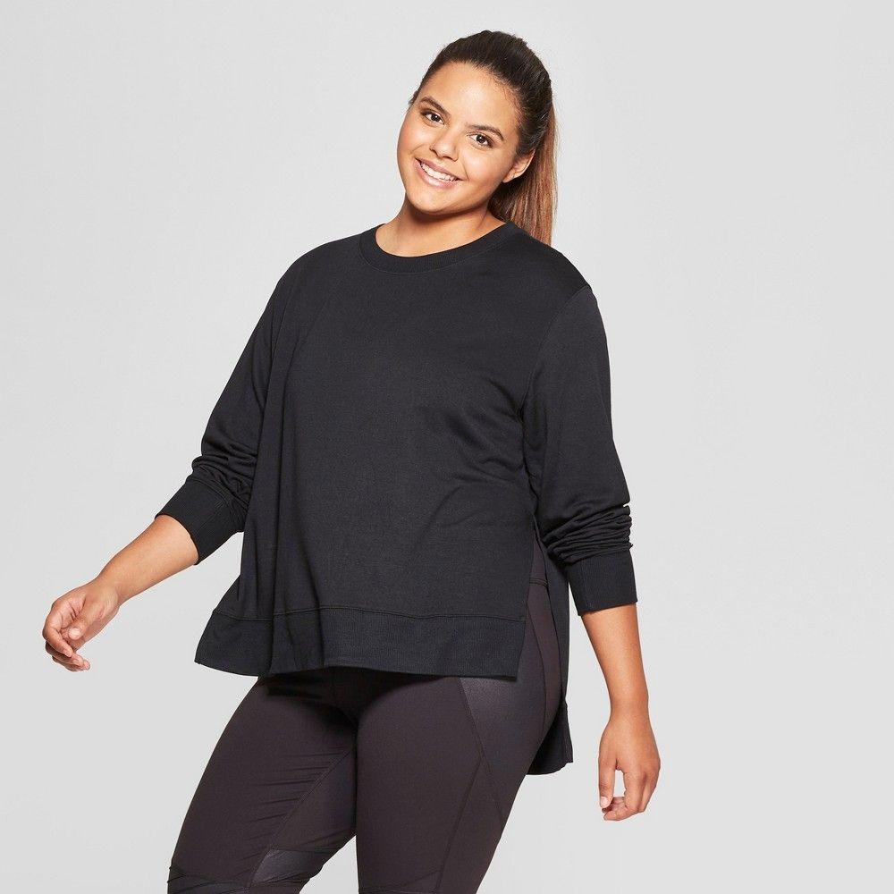 Women's Plus Size Crewneck Sweatshirt JoyLab Black 4X