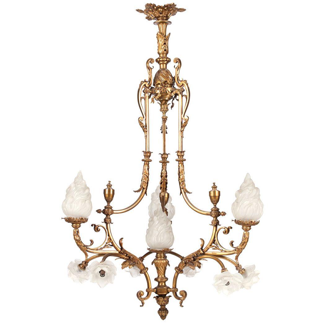Louis xvi style antique gold finish ten light chandelier mid 20th louis xvi style antique gold finish ten light chandelier mid 20th century aloadofball Images