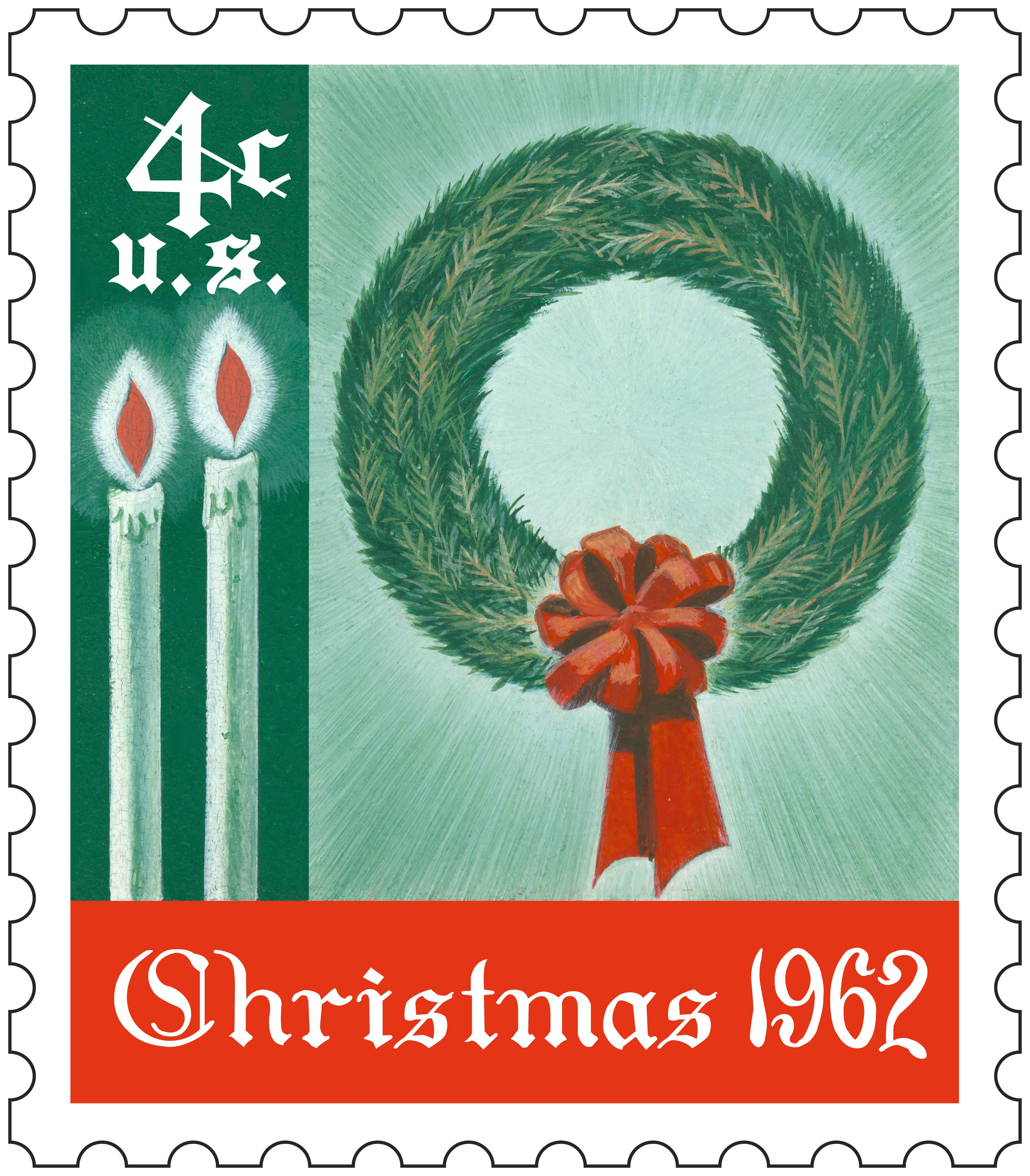The first U.S. Christmas stamp was issued in 1962 and