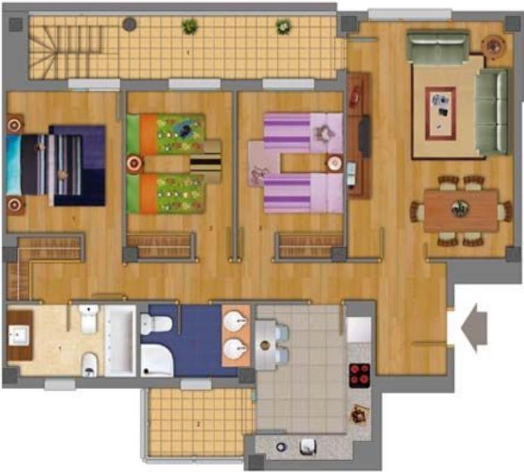 planos de casas pequenas 3 habitaciones con patio