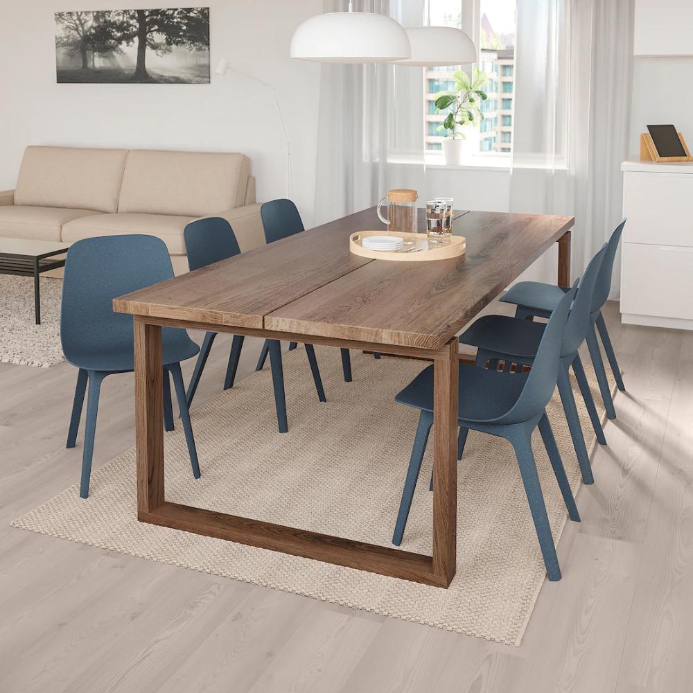 MÖRBYLÅNGA / ODGER Table and 6 chairs, oak veneer, blue