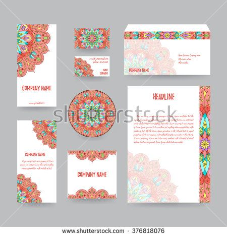 Set of corporate identity templates with mandala decor letterhead set of corporate identity templates with mandala decor letterhead envelope flyers business cards disc with packaging reheart Choice Image