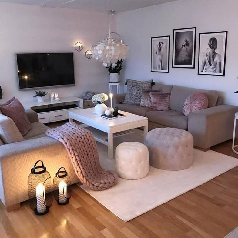 We Love The Elegant Makeup Room Ideas By Some Of The Best Beauty Bloggers On The Grey Sofa Living Room Living Room Decor Apartment Small Apartment Living Room