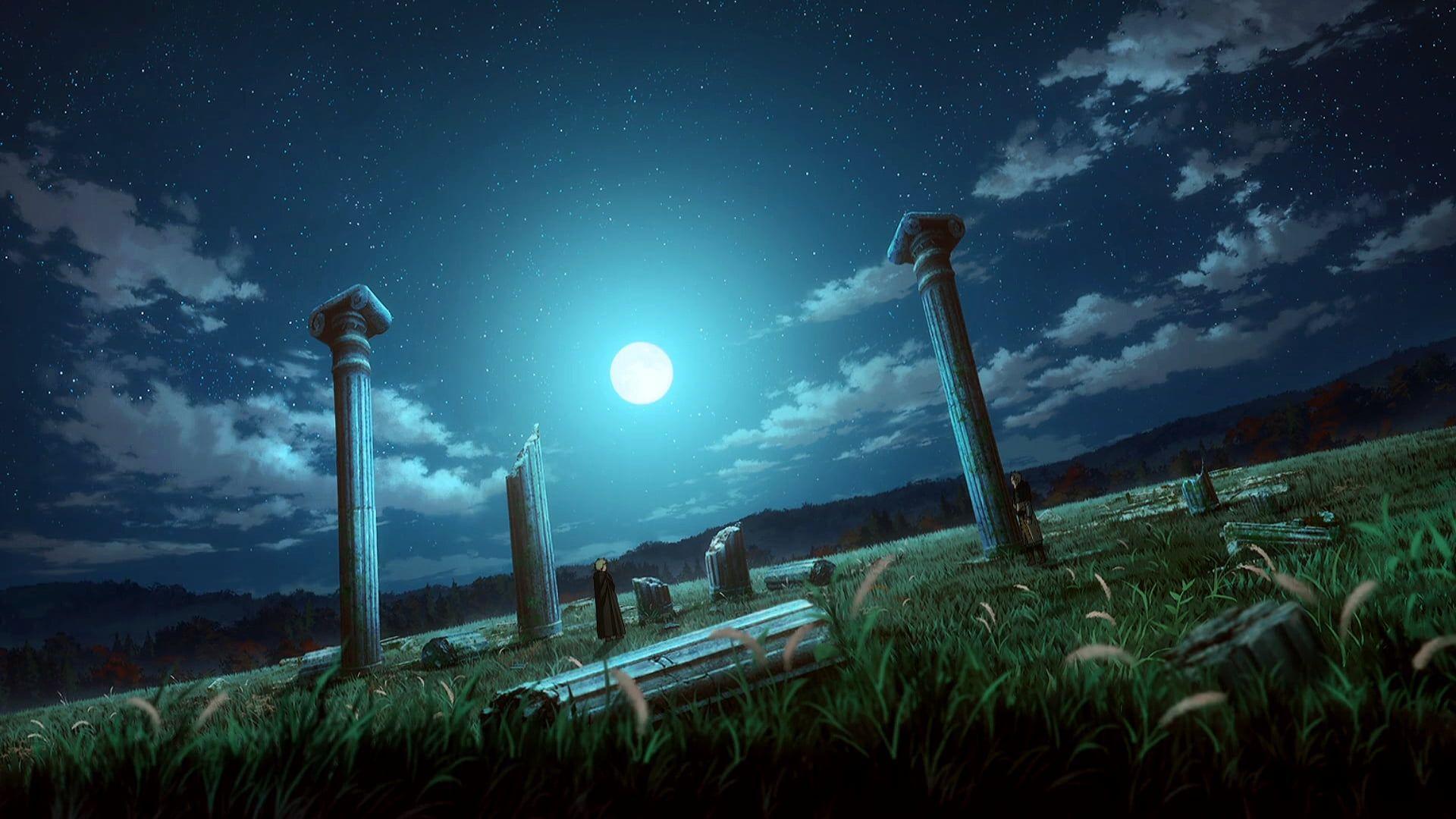 Vinland Saga Landscape Ruins Night Night Sky Moon Stars Clouds Roman In 2020 Night Sky Moon Vinland Saga Night Skies