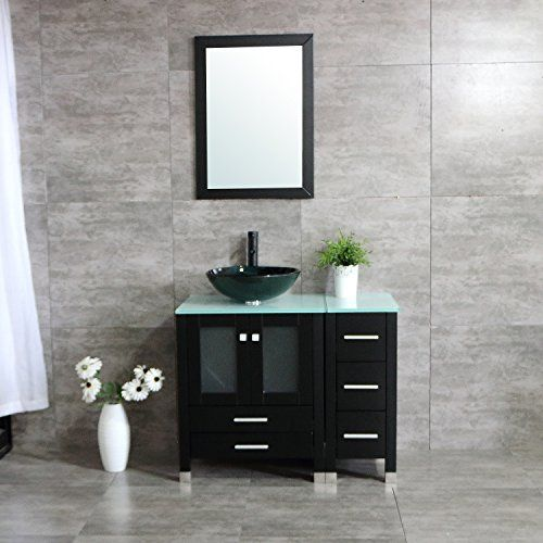 Walcut 36 Bathroom Vanity With Sink Mdf Wood Cabinet And Glass Vessel Sink And Faucet Combo 3 Black Vanity Bathroom Bathroom Vanity 36 Bathroom Vanity