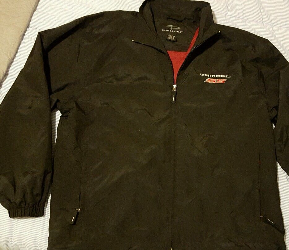 Camaro Ss Racing Jacket Men Large Ralph White Classic Black Zip
