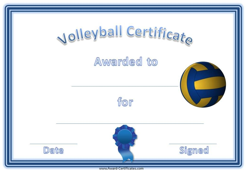 Volleyball Certificate Template  Volleyball Awards  Coaching
