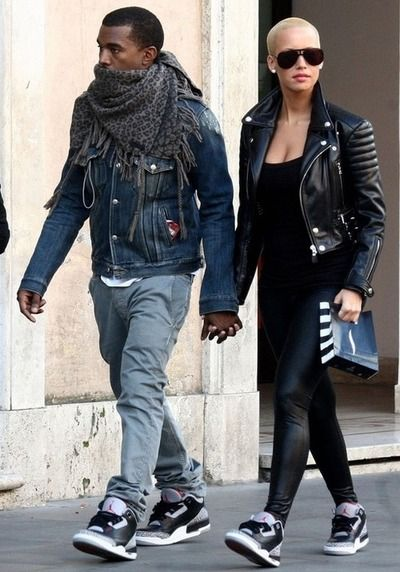 Kanye West and Amber Rose in Air Jordan III Cements