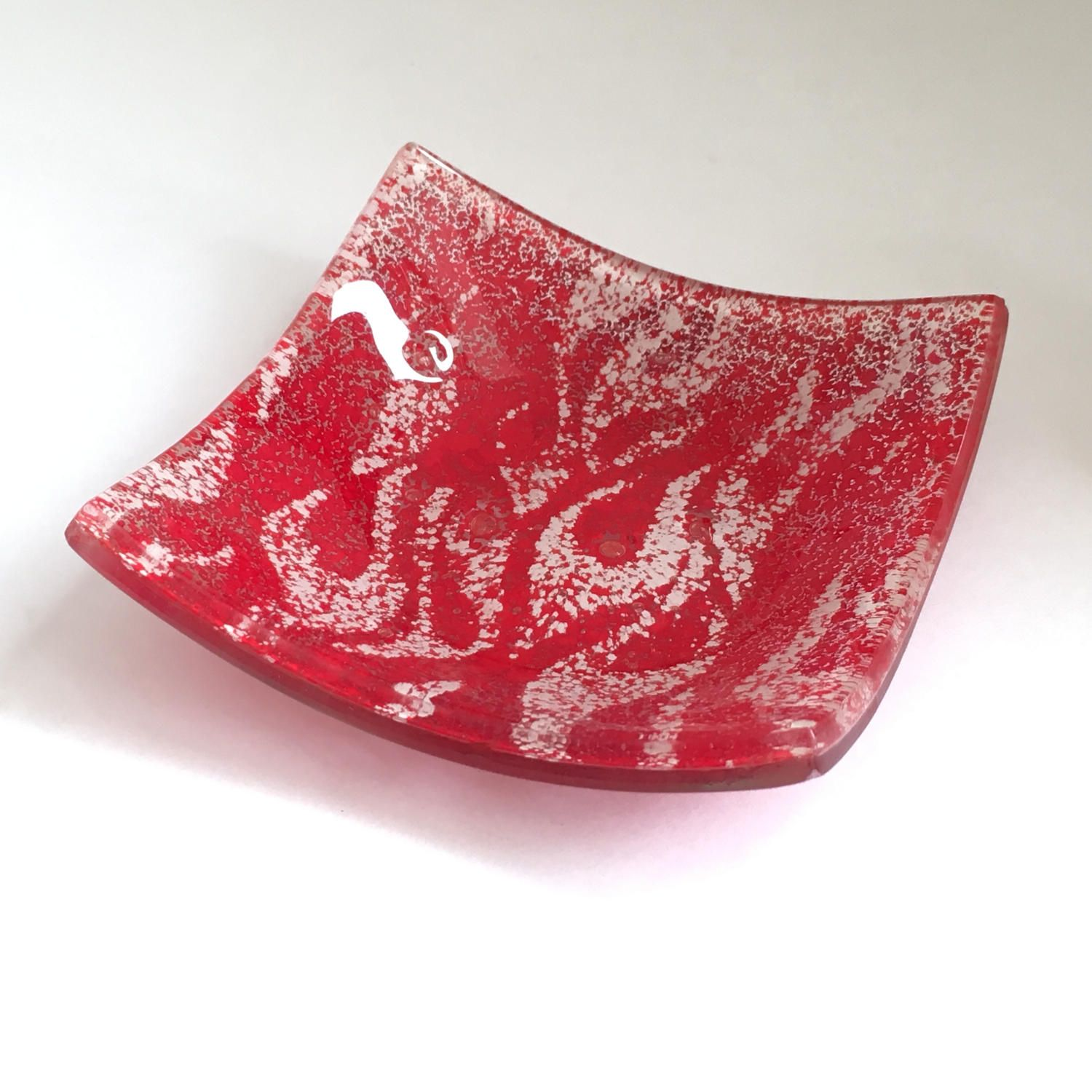 Red Fused Glass Trinket Dish - Ring Dish - Jewellery Dish - Red dish - Tea Light Dish - Ring Holder Dish - Glass Votive Holder - ED 587 by FiredCreationsGlass on Etsy