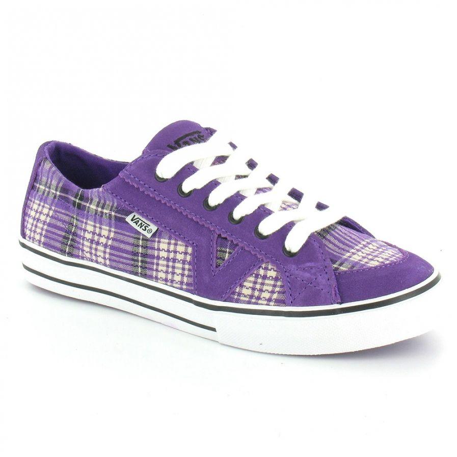 purple flats Vans Trainers Vans Tory Plaid Womens 6 Eylet Pumps Purple