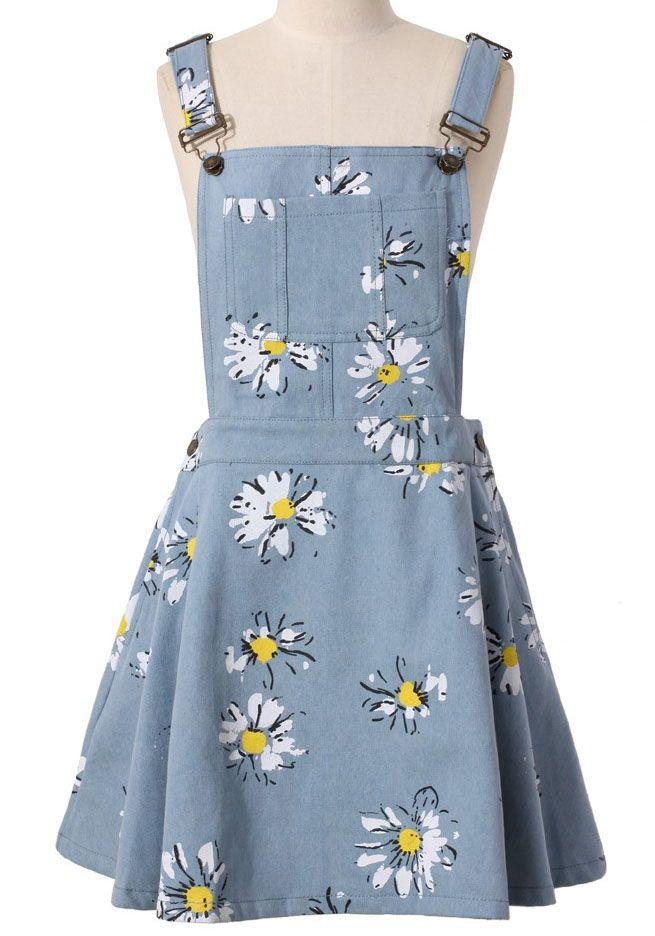 58ca37b8fbda4 Light Blue Daisy Floral Print Denim Dungaree Dress - Sheinside.com ...