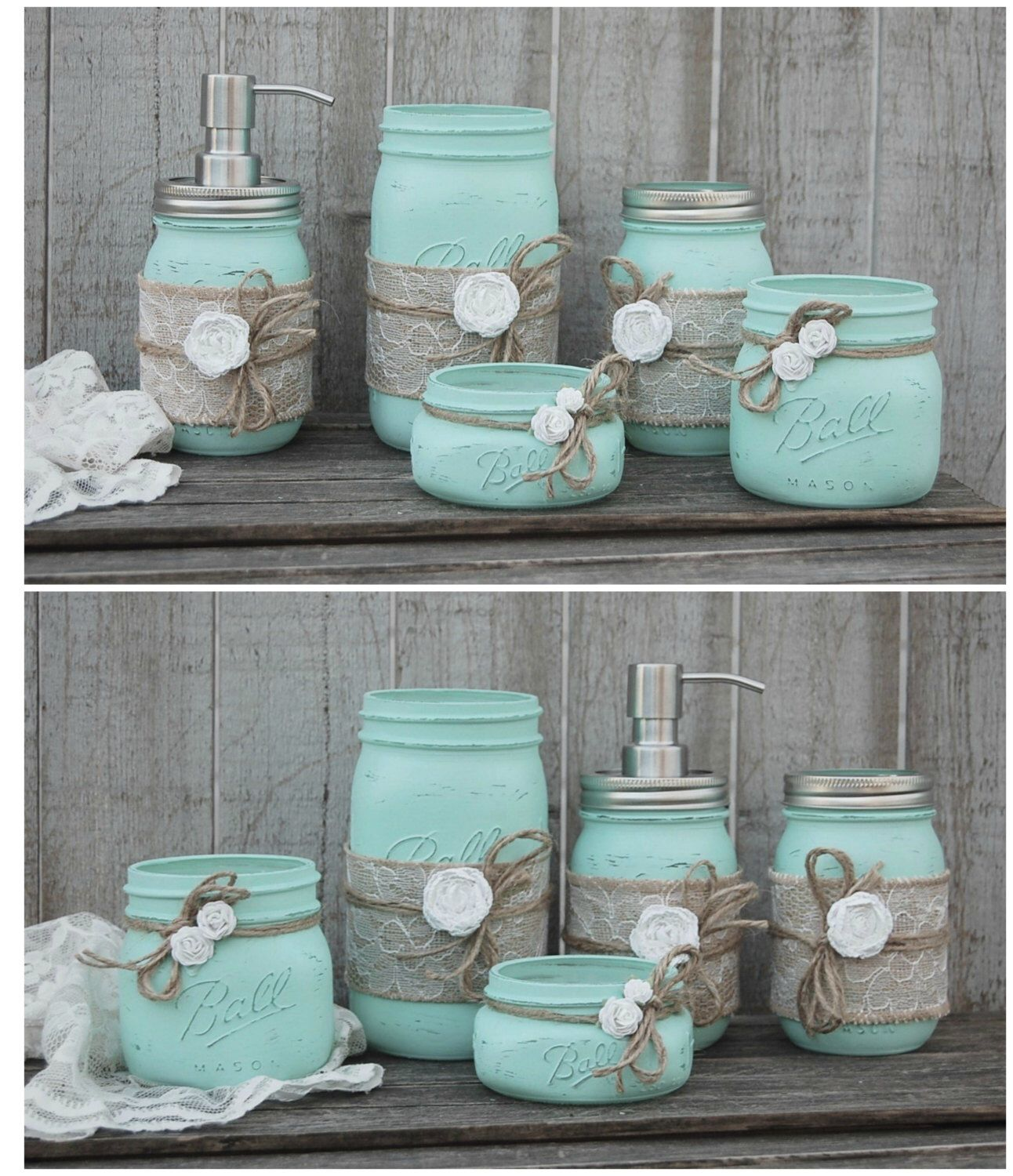 Bathroom Art Minted: Mason Jar Bathroom Set, Mint Green, Shabby Chic, Soap
