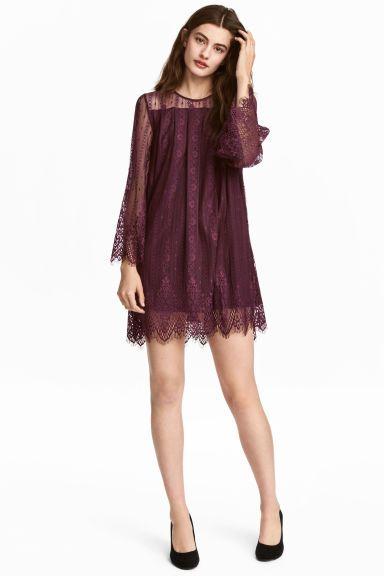 1713a46ea57f5f Korte kanten jurk - Paars - DAMES