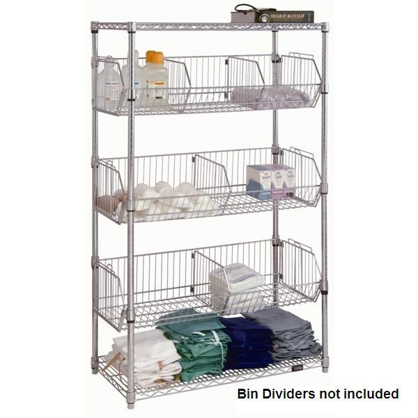 Chrome Wire Shelf Unit with Wire Bins | Organizing-closet ...