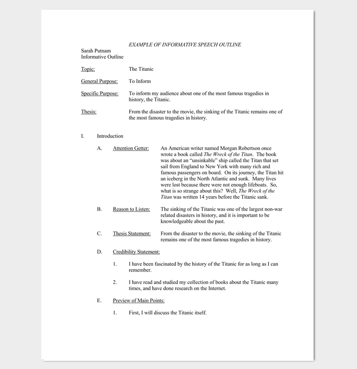 Sample Informative Speech Outline Template For Pdf  Outline