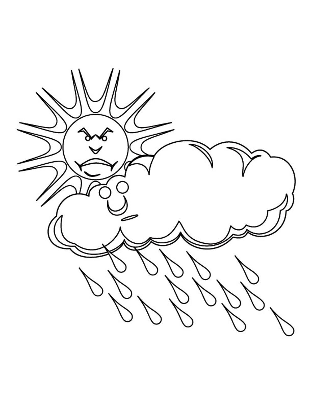 Rain-Cloud-Coloring-Page.jpg (995×1288) | coloring book | Pinterest