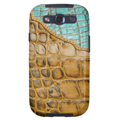 Alligator and Turquoise Leather Look Galaxy SIII Cover