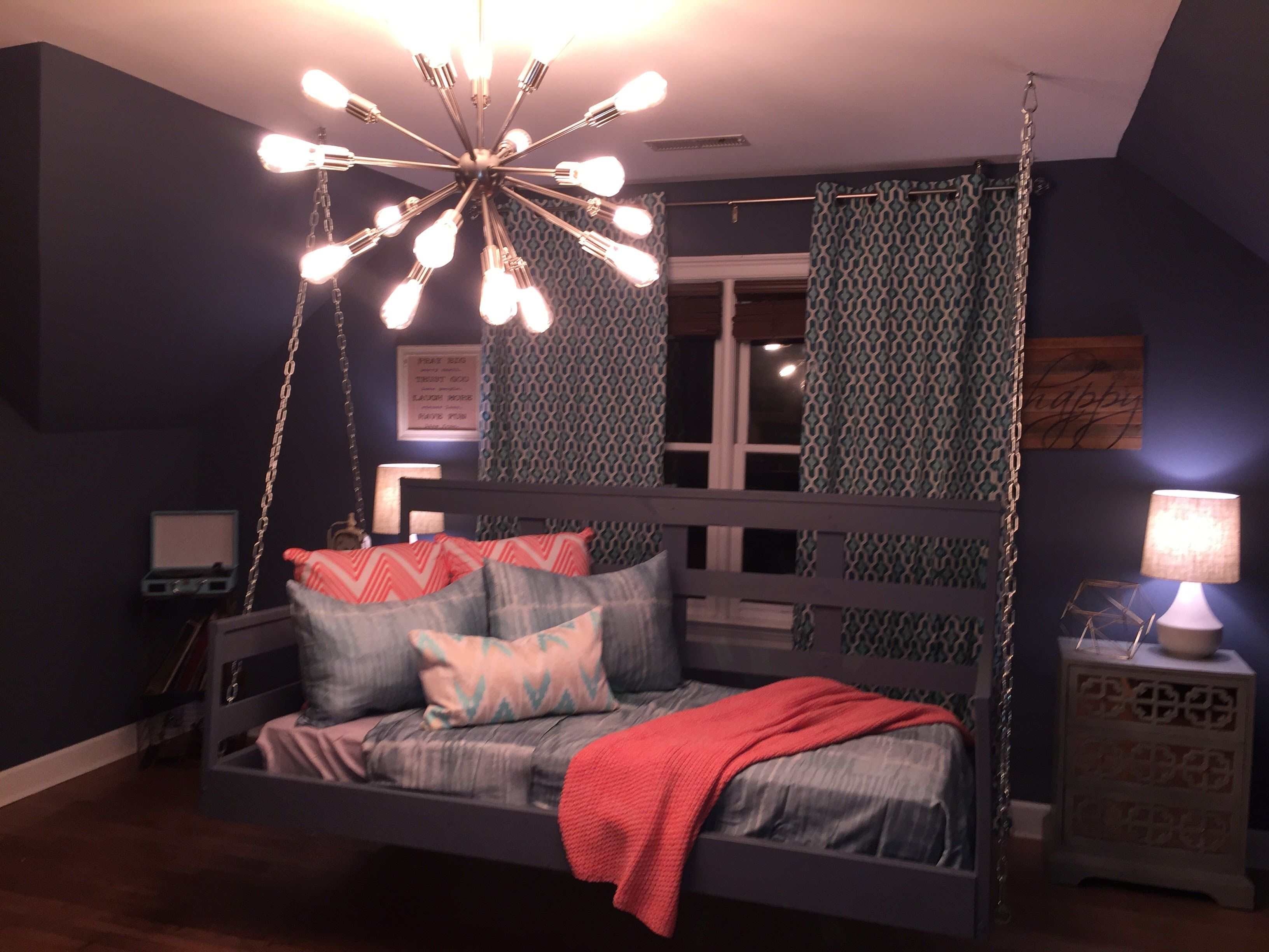 Kids Room Design With Hanging Bed And Sputnik Chandelier