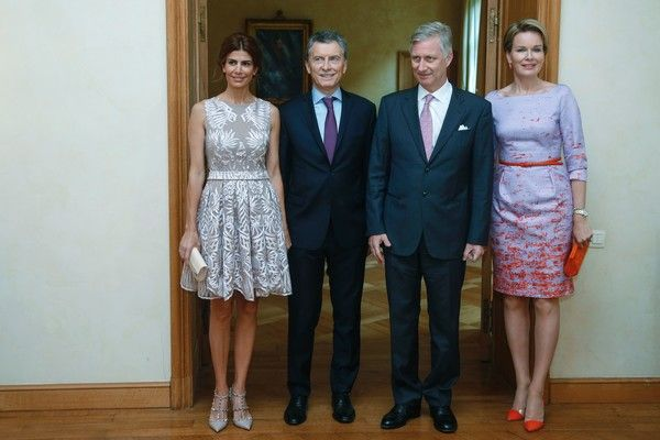Juliana Awada Photos Photos - Argentine's First Lady Juliana Awada, Argentine's President Mauricio Macri, King Philippe of Belgium and Queen Mathilde of Belgium pose during a meeting on July 4, 2016 at the Royal Palace in Brussels. / AFP / Belga / THIERRY ROGE / Belgium OUT - In Focus: The Royal Week