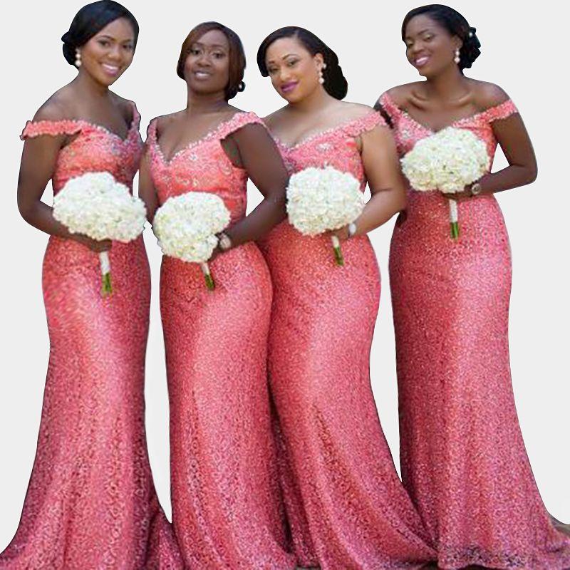 Modest Shoulder Mermaid Dress Party Wedding Vestido De Noite C Pink Sequin Long Bridesmaid Dresses 2017