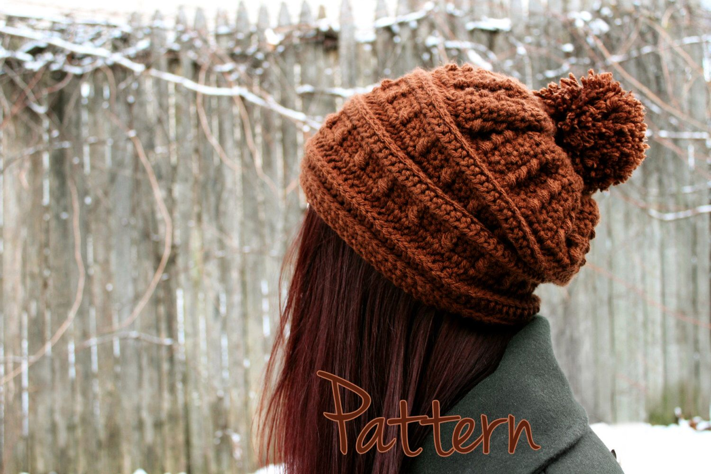 Crochet Pattern Slouchy Hat Womens Beanie Pom Pom Winter Puff Stitch ...