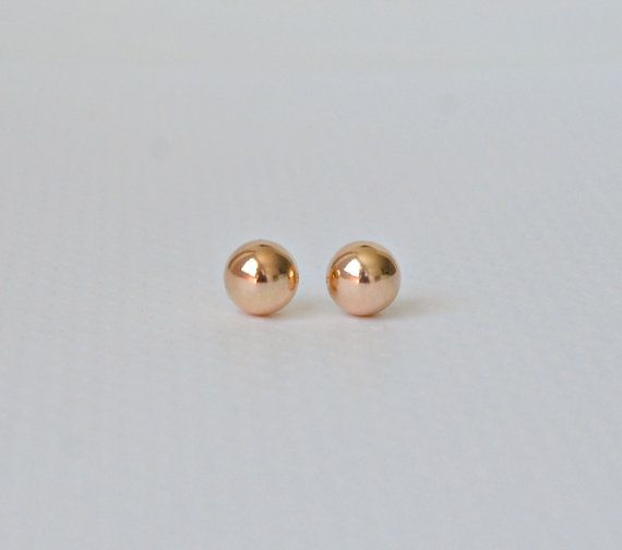 Rose Gold Ball Earrings Tiffany Style 10mm Stud Pink Large Studs Gift For Her Clic Jewelry Caroline By Littleglamour