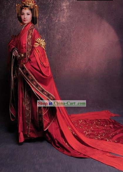 f94dd809d Ancient Chinese Han Dynasty Wedding Clothing and Headpieces for Women