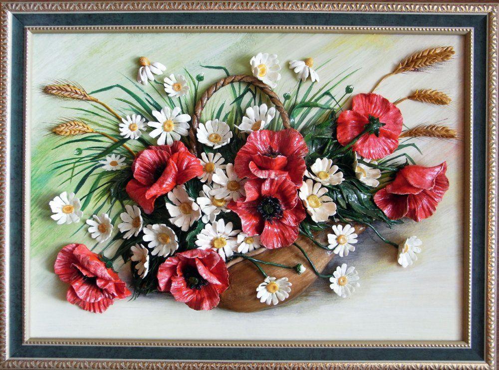 женщину, присевшую картина с цветами своими руками еще возникает