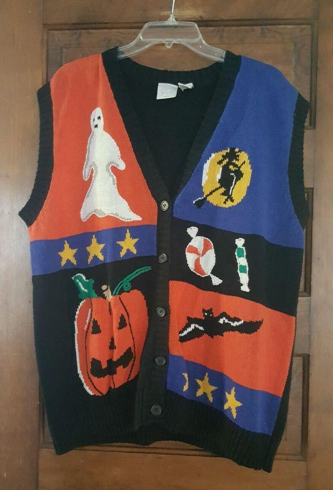Ladies Laura Gayle Fun Pumpkins Witches Halloween Sweater Vest Plus