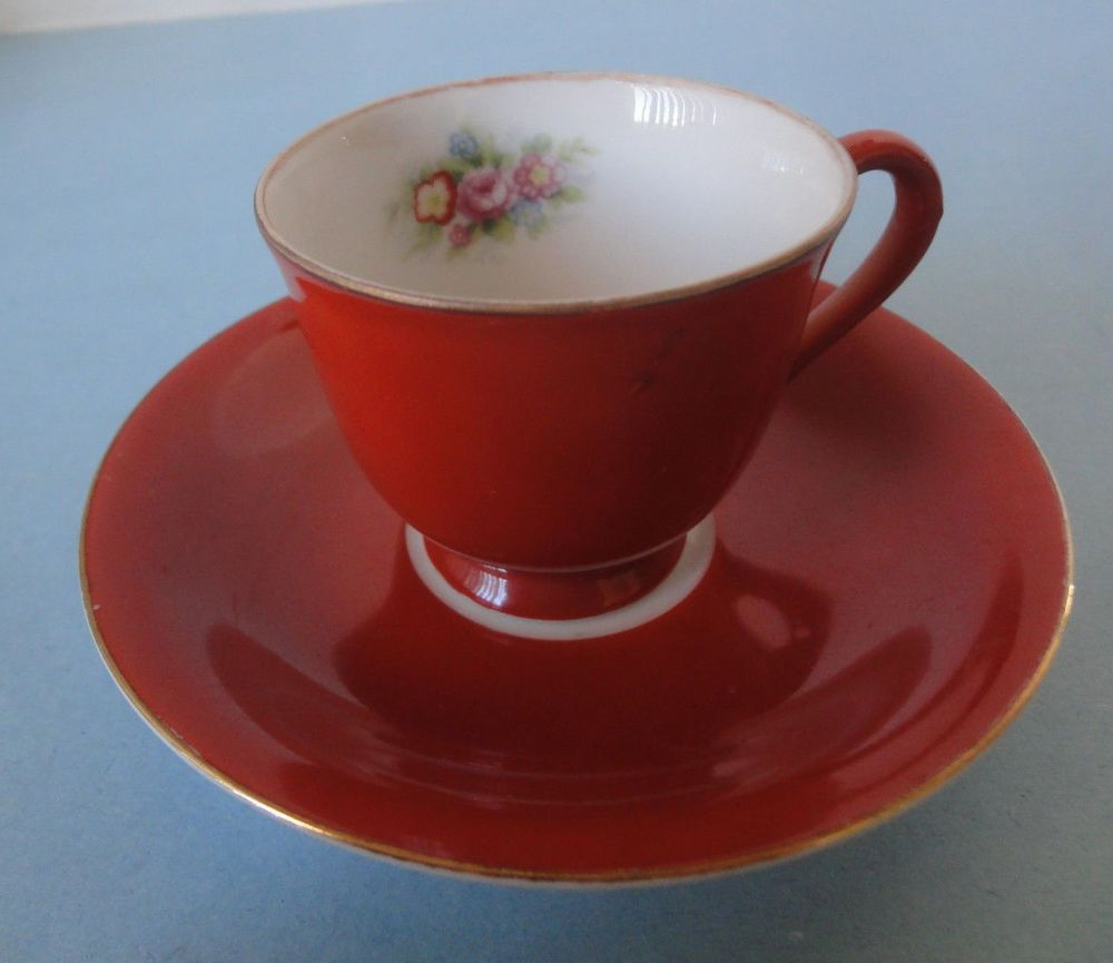 Castle China Demitassse Cup & Saucer Made In Occupied Japan