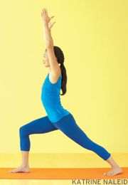 Learn the basic actions of Warrior 1 Pose (Virabhadrasana 1), a fundamental yoga pose.