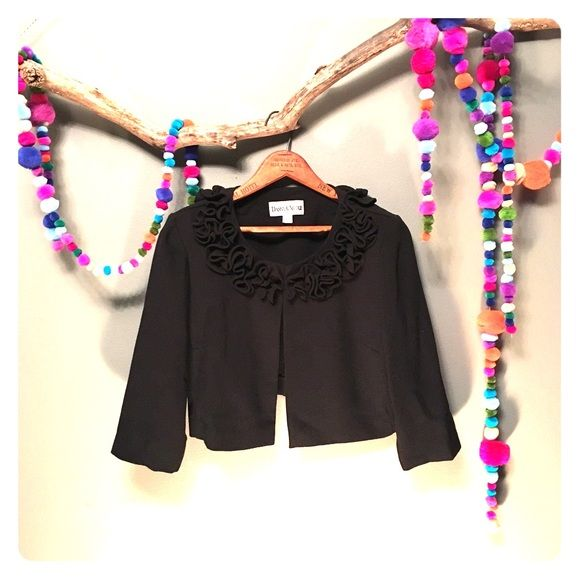 """Bolero jacket Cute little ruffled bolero jacket. Two eye hook closures. 3/4 length sleeves (17"""" long). Has small shoulder pads, but they could be easily removed. Would look great with distressed jeans;) Danny & Nicole Other"""