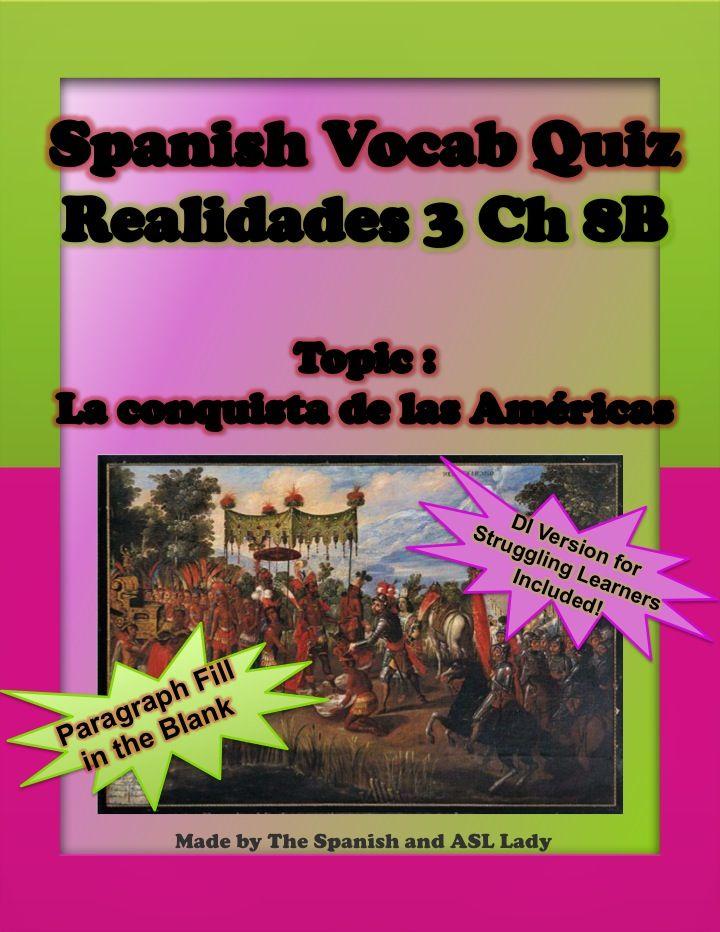 Spanish Vocab Quiz Realidades 3 Chapter 8B Educational