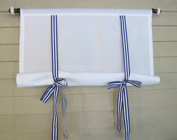 White 60 Inch Long Cotton Swedish Roll Up Shade Stage Coach Blind