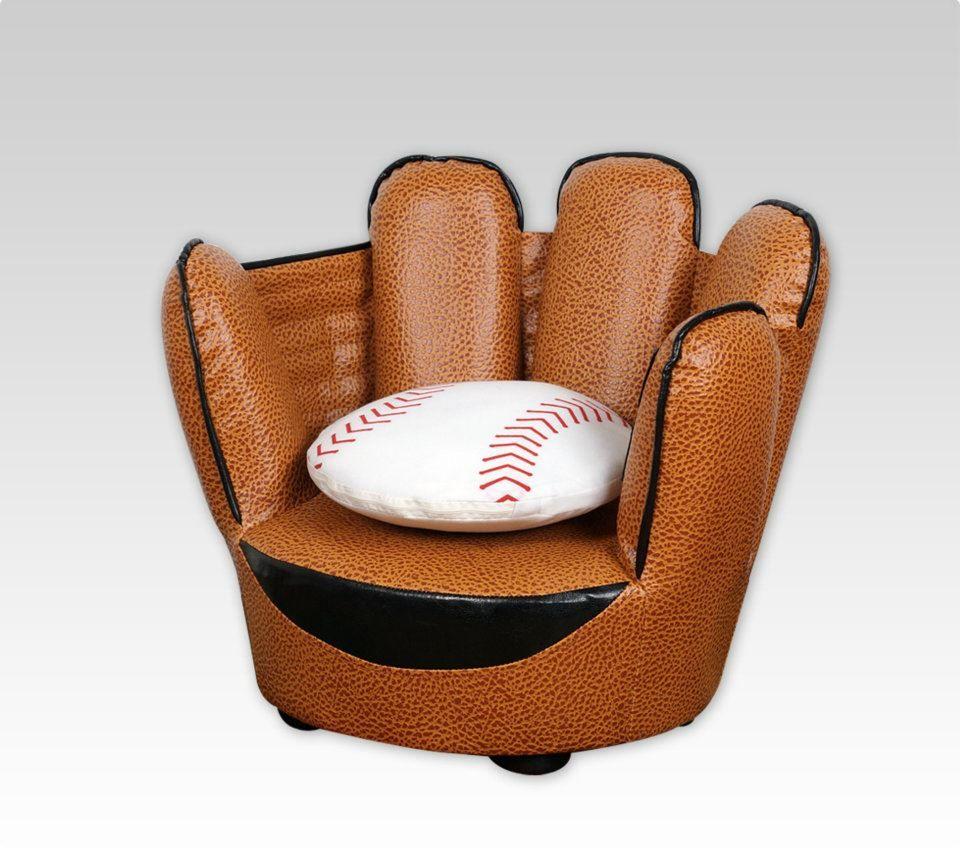 Kids Lounge Chair Baseball Glove Shaped Children Open Sofa