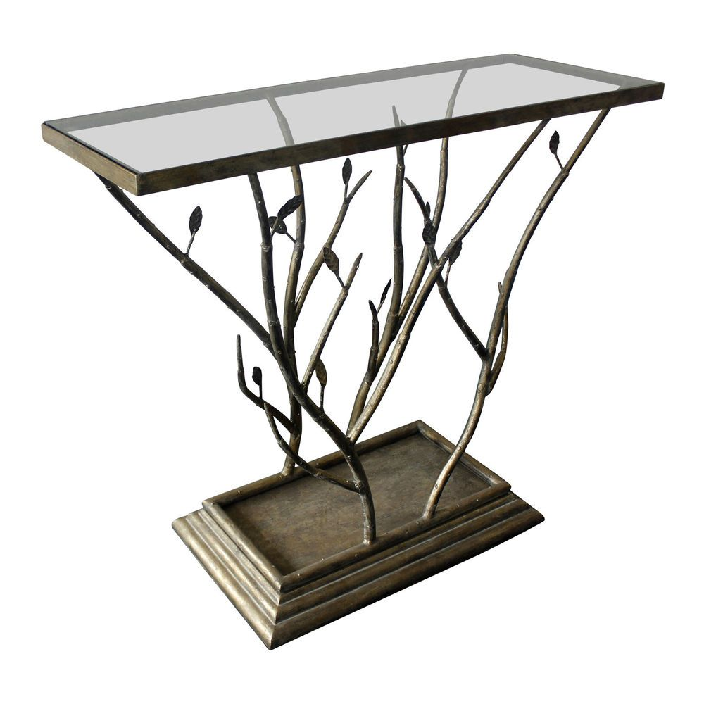 Console Quirky Side Table Branch Glass Top Hall Entry Way Metal Rustic Room  Glam