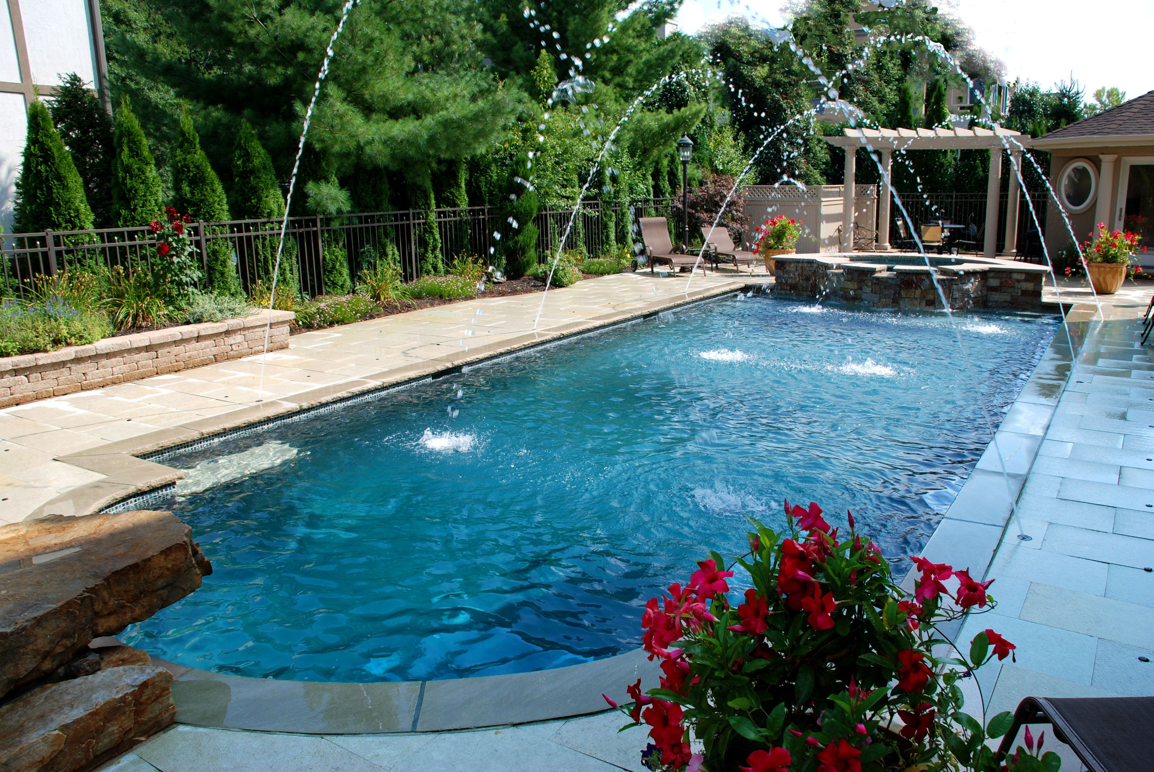 lap pool with a jumping rock and custom spa   ideas for the house