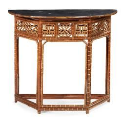 VICTORIAN BAMBOO DEMILUNE CONSOLE TABLE 19TH CENTURY 102cm wide, 88cm high, 52cm deep