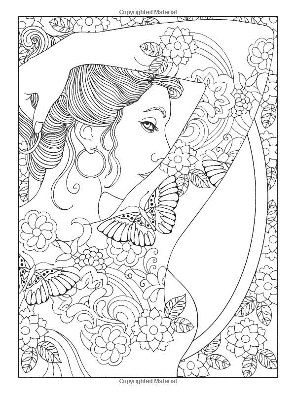 Coloriage Coloring Woman Japanese Japonaise Tattoo Tatouage Femme