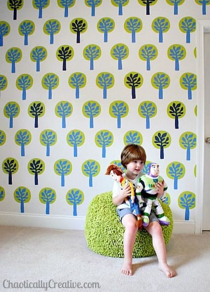 Customize your own wall stencil, this one inspired by Ikea fabric.
